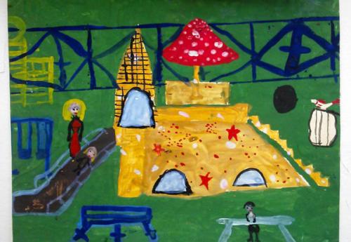 Детская площадка (гуашь) 5 лет