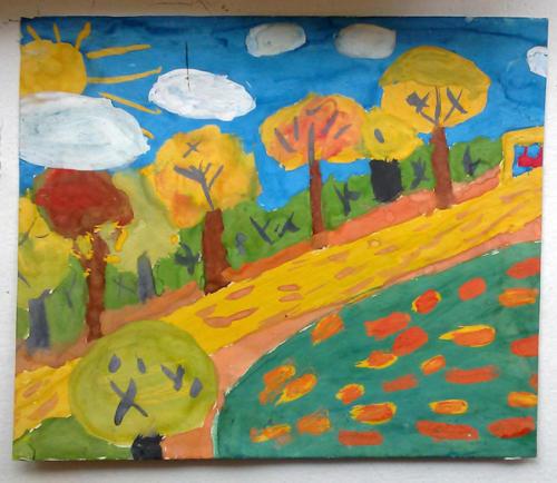 Осенний лес (гуашь) 6 лет